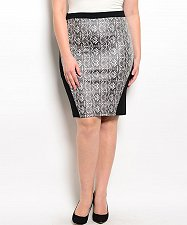 Buy Pencil Skirt SIZE 1X 2X 3X Womens HAE Black Tribal Print Career Knee Length Zip