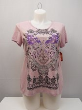 Buy SIZE XL Womens Knit Top FADED GLORY Lavender Crochet Lace Trim Embellished