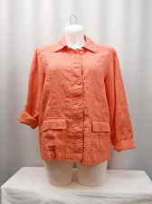 Buy Womens Blazer CHARTER CLUB PLUS SIZE 2X Linen Coral Long Sleeves Collar Neck