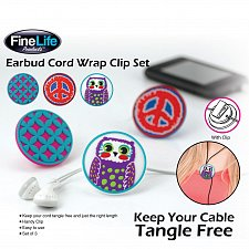 Buy *16426U - Earbud Tangle Free Cord Wrap Plastic Disk w/Clip 3pc Set