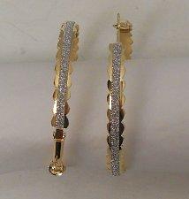 Buy Women Fashion Hoop Earrings Gold Tones Glitter SHI ZHI CHAO JEWELRY Leverback