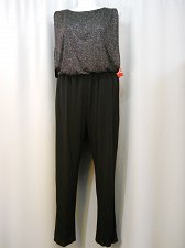 Buy Jumpsuit PLUS SIZE 18W ENFOCUS Black Glitter Boat Neck Sleeveless Straight Leg