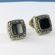 Buy Scott Kay Mens Small Square Onyx Cufflinks Sterling Silver Fixed Back NWOT $595