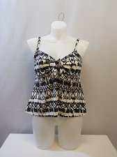 Buy SIZE 18 Women Tankini Swim Top SHORE CLUB Black White Ikat Tie-Front Underwire