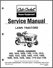 Buy Cub Cadet 805 1015 1020 - 1720 Riding Lawn Tractors Service Repair Manual CD