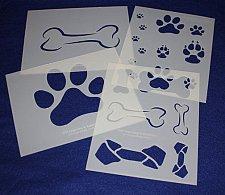 Buy 4 Pc Set -Mylar 14 Mil Dog Bone Paw Print LG Stencils Painting/Crafts/Stencil