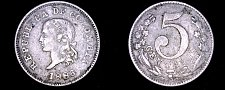 Buy 1886-W Colombian 5 Centavo World Coin - Colombia - Small Top 5 - KM-183.2