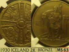 Buy Iceland 1930 2 Kronur Althing Millennium Bronze~NGC MS-63~RARE~Free Shipping