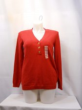 Buy Women Henley Sweaters CHARTER CLUB Solid Red PLUS SIZE 2X Long Sleeves V-Neck