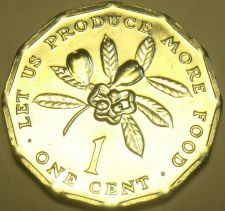 Buy Gem Unc Jamaica 1977 F.A.O. Cent~Let Us Produce More Food~12-Sided~Free Shipping