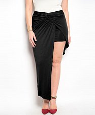 Buy SIZE 1XL Womens Skirt FINESSE Solid Black Asymmetrical Hem Twist Front