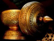 Buy Vintage Jar Pedestal Cover Brass Handcraft Carved Decorative Engraved Thai Arts