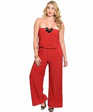 Buy PLUS SIZE 2X 3X Womens Strapless Jumpsuit H.B.G.B. Solid Red Wide Leg Slip On