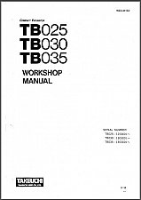 Buy Takeuchi TB025 TB030 TB035 Compact Excavator Service Workshop Manual on a CD