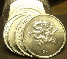 Buy Gem Unc Roll (20) Liberia 2000 5 Cent Coins~Millennium Dragon~Free Shipping