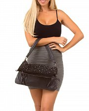 Buy Womens PURSE SHOULDER BAG Black Studded Fold Over CLUTCH HANDBAG Faux Leather