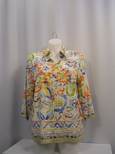 Buy PLUS SIZE 16W Womens Button Down Shirt ALFRED DUNNER Multi Floral 3/4 Sleeves