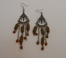Buy Womens Earrings Silver Tones Brown Beads Fashion Drop Dangle PRINCESS French Hoo