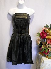 Buy SIZE L Prom Formal Dress HAVE & HAVE Black Soft Faux Leather Strapless Belted