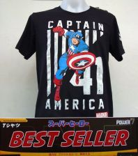 Buy Captain America black Cotton 100% T-Shirt The Avengers Super Hero Marvel