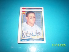 Buy 1991 Topps Traded card of candy maldonado brewers #74T mint free ship