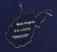 """Buy State of West Virginia -6"""" x 5.5"""" 1/4"""" Quilt Template- Acrylic - Long Arm/ Sew"""
