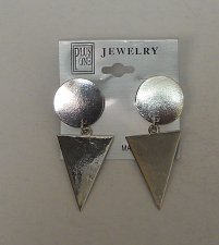 Buy Women Drop Dangle Fashion Earrings Silver Tones Circle Triangle PLUS ONE JEWELRY