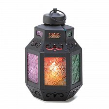 Buy 14638U - Rainbow Delight Pressed Glass Panels Moroccan Style Iron Candle Lantern