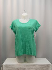 Buy Knit Top Plus Size 1X 3X STYLE&CO Green Short Sleeve Scoop Neck 100% Cotton
