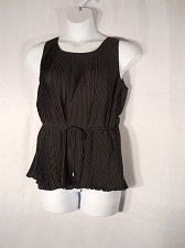 Buy CAMI TOP Size XL SPENSE Black Sleeveless Scoop Neck Belted Waist Pleated Tunic