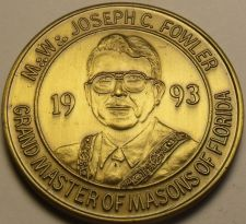 Buy 1993 Large 39.1mm Solid Bronze Grand Master Of Masons Of Florida Medallion~Fr/Sh