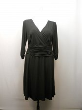 Buy Women Dress PLUS SIZE 1X NY COLLECTION Solid Black ¾ Sleeves Ruched Waist