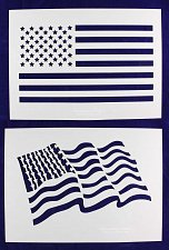 Buy 2 Piece Set -Mylar 14 Mil Large US Flag Stencils Painting/Crafts/Template
