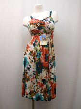 Buy Womens Sundress Size M Floral Spaghetti Strap Multi-Color Smocked Elastic Waist