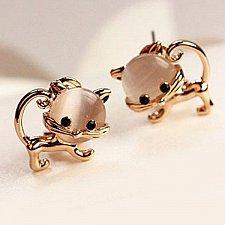 Buy Pair of Sweet Faux Opal Embellished Kitten Earrings For Women