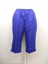 Buy PETITES 20P Women Capris Solid Royal Blue Pockets Straight Leg Elastic Waist