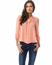 Buy Women Sheer Top SIZE L Solid Coral Lace Trim Button Down Front V-Neck ¾ Sleeves