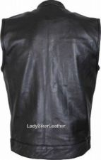 Buy Mens SOA BIKER Black PREMIUM Leather CONCEALED CARRY Motorcycle CLUB Vest 40-66