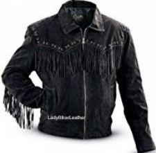 Buy Mens Biker ZIP FRONT Black OR Brown SOFT SUEDE Leather WESTERN FRINGE Jacket