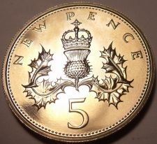 Buy Great Britain 5 Pence 1972 Proof~Crowned Thistle~150k Minted