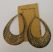 Buy Women Earrings Teardrops Fashion Drop Dangle Black Gold Tones Hook FASHION JEWEL