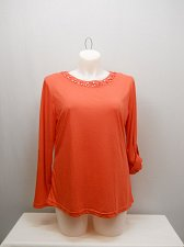 Buy PLUS SIZE 1XL 2XL 3XL Womens Knit Top Dark Coral Embellished Neck Long Sleeves