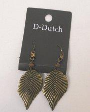 Buy Women Fashion Drop Dangle Leaf Earrings Brassy Gold Tones Rhinestones D-DUTCH