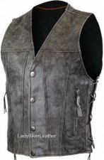 Buy Mens DISTRESSED GRAY Leather CONCEALED CARRY Jean Style MOTORCYCLE Vest LACES