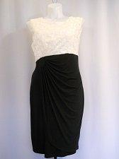 Buy Women Dress Plus Size 16W Embellished Ivory Black Sleeveless Scoop Neck Formal