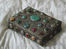 Buy SILVER Tone Antique Box With Stones Made In India