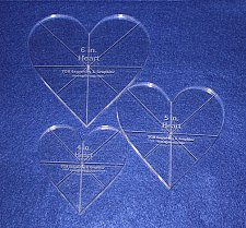 """Buy Laser Cut Quilt Templates - 3/8"""" Acrylic-Clear - 3 piece Heart Set w/guidelines"""
