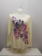 Buy PLUS SIZE 2X Womens Knit Top JUST MY SIZE Ivory Floral Glitter V-Neck Long Sleev
