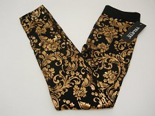 Buy Women Leggings ONE SIZE Black Paisley Gold Foil Skinny Leg Inseam 30 YELETE