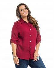 Buy PLUS SIZE 1X 2X 3X Women Button Shirt ROMAN Burgundy Lattice Detail ¾ Tab Sleeve